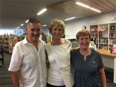 Acclaimed author Glenna Thomson with local identity, Jim Myconos, and Deb Saunders, Benalla Library Coordinator