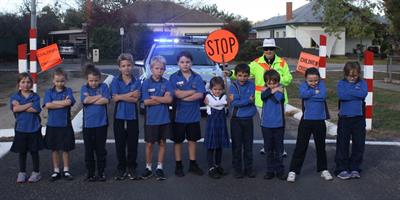 Kids at school crossing - thanks to Benalla Police for the photograph