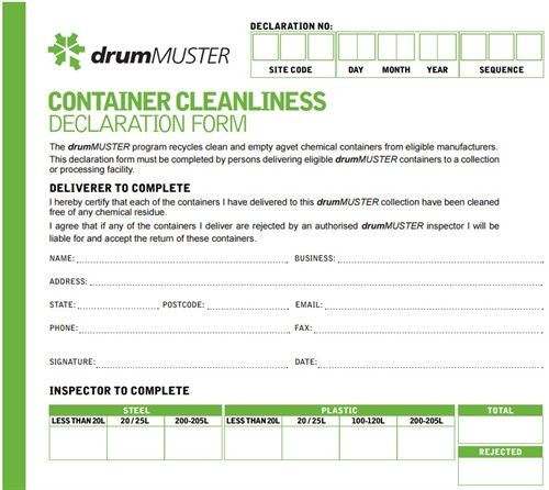 Image of drumMUSTER container cleanliness declaration form
