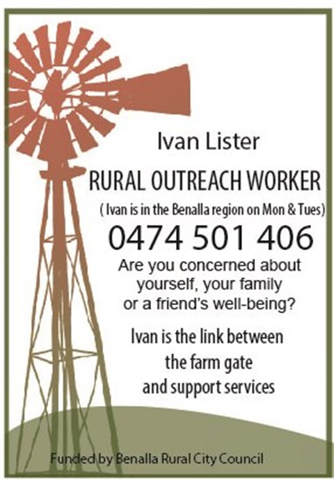 Rural Outreach Worker Flyer with phone number contact details